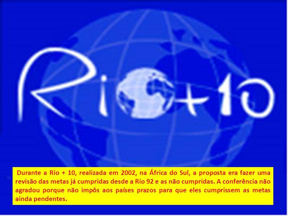 Durante a Rio + 10, realizada em 2002, na África do Sul, a proposta era fazer uma revisão das metas já cumpridas desde a Rio 92 e as não cumpridas. A