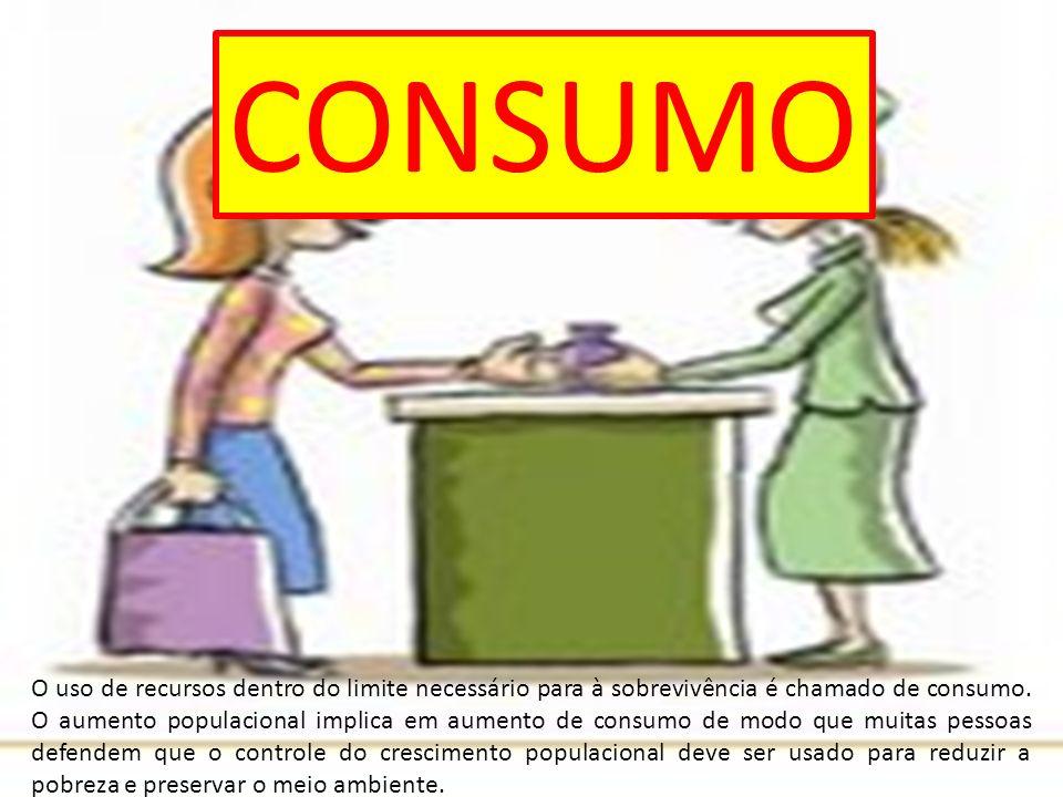 CONSUMO O uso de recursos dentro do limite necessário para à sobrevivência é chamado de consumo. O aumento populacional implica em aumento de consumo