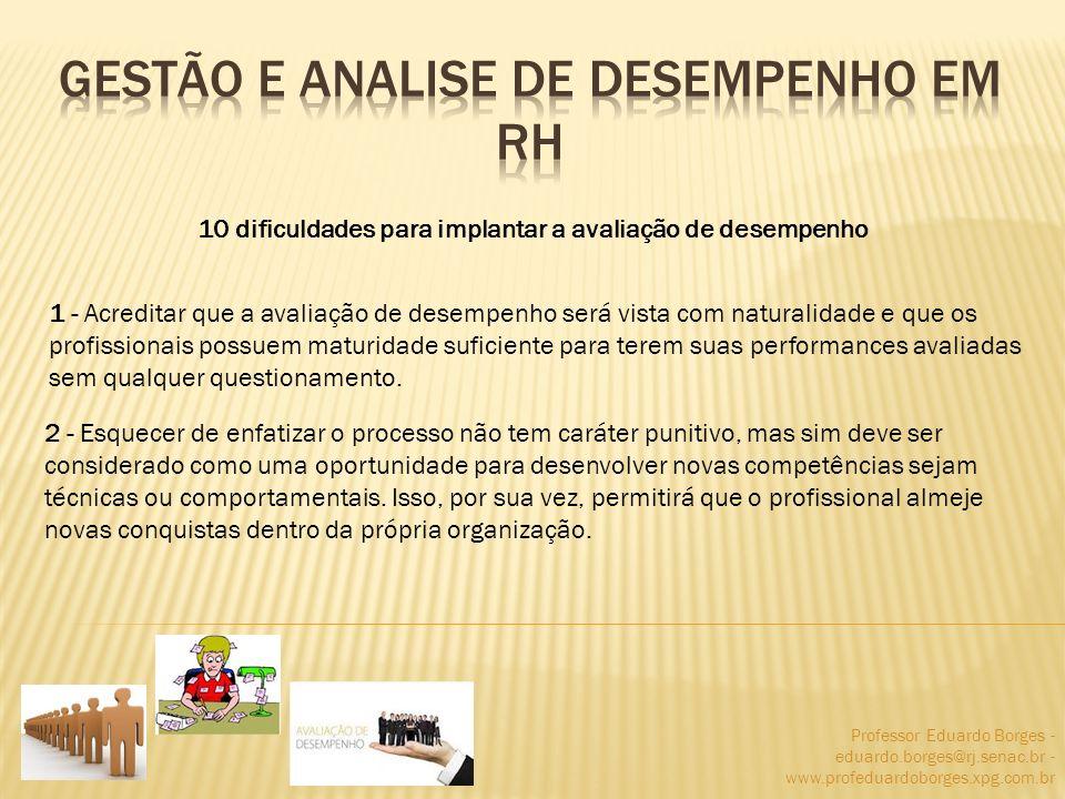 Professor Eduardo Borges - eduardo.borges@rj.senac.br - www.profeduardoborges.xpg.com.br 10 dificuldades para implantar a avaliação de desempenho 1 -
