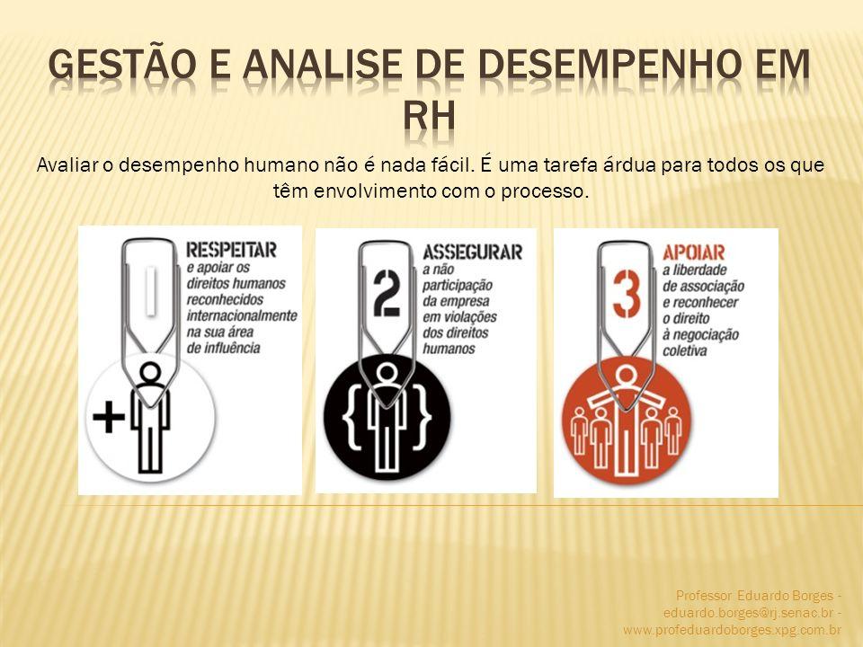 Professor Eduardo Borges - eduardo.borges@rj.senac.br - www.profeduardoborges.xpg.com.br Avaliar o desempenho humano não é nada fácil. É uma tarefa ár