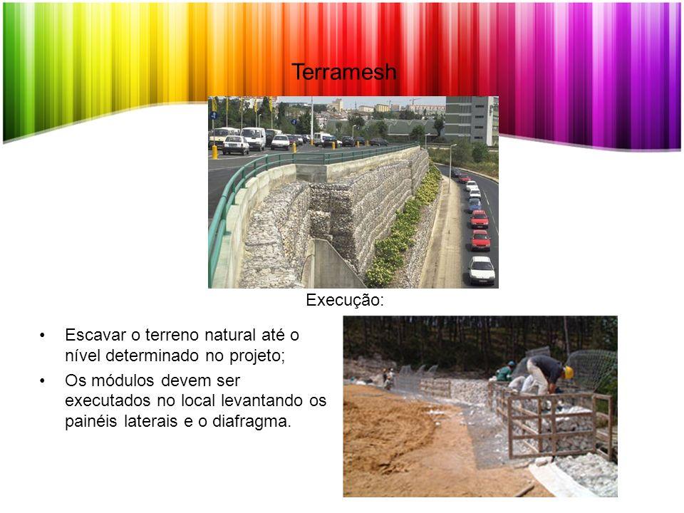 Terramesh Escavar o terreno natural até o nível determinado no projeto; Os módulos devem ser executados no local levantando os painéis laterais e o di