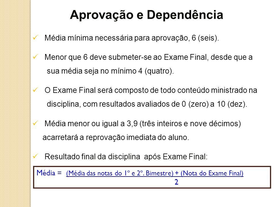 Média mínima necessária para aprovação, 6 (seis). Menor que 6 deve submeter-se ao Exame Final, desde que a sua média seja no mínimo 4 (quatro). O Exam