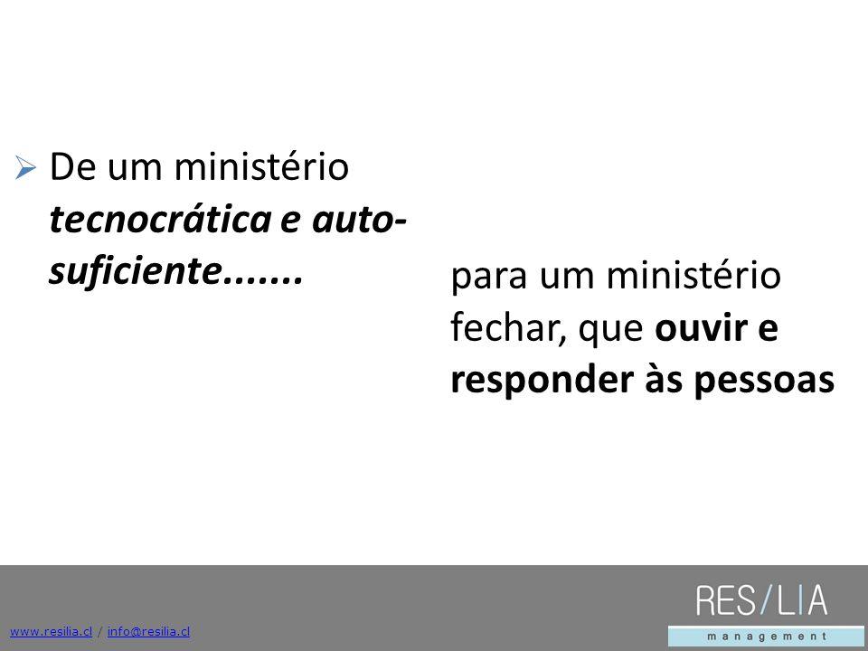www.resilia.clwww.resilia.cl / info@resilia.clinfo@resilia.cl De um ministério tecnocrática e auto- suficiente....... para um ministério fechar, que o