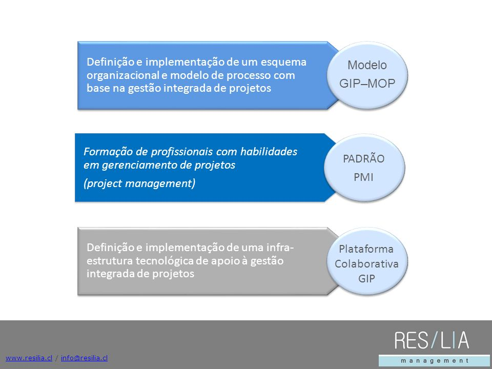www.resilia.clwww.resilia.cl / info@resilia.clinfo@resilia.cl Definição e implementação de uma infra- estrutura tecnológica de apoio à gestão integrad