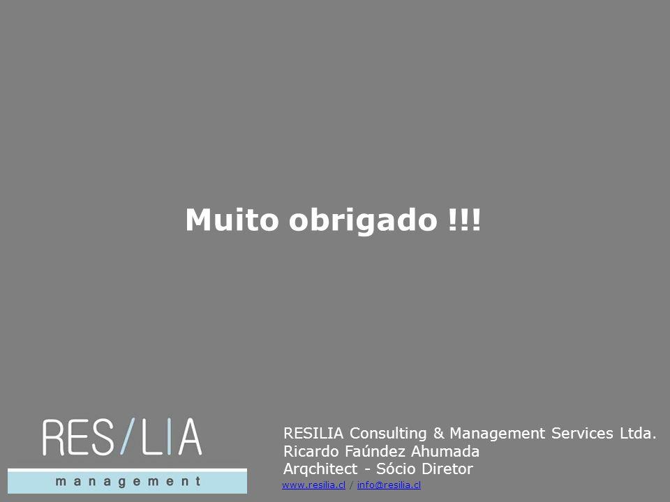 Muito obrigado !!! RESILIA Consulting & Management Services Ltda. Ricardo Faúndez Ahumada Arqchitect - Sócio Diretor www.resilia.clwww.resilia.cl / in
