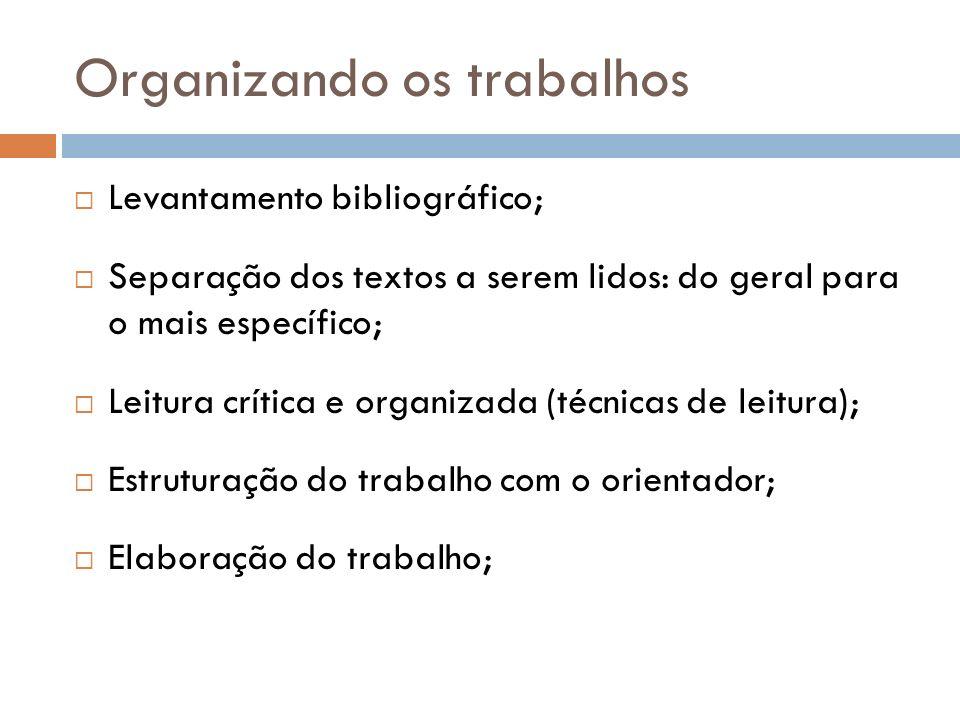 Organizando os trabalhos Levantamento bibliográfico; Separação dos textos a serem lidos: do geral para o mais específico; Leitura crítica e organizada