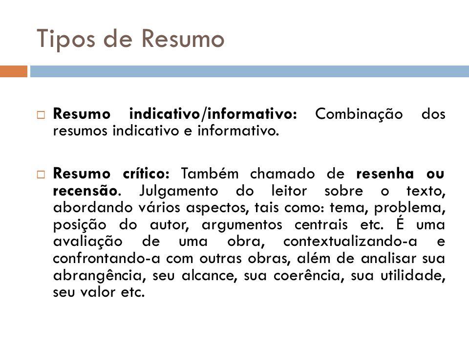 Tipos de Resumo Resumo indicativo/informativo: Combinação dos resumos indicativo e informativo. Resumo crítico: Também chamado de resenha ou recensão.