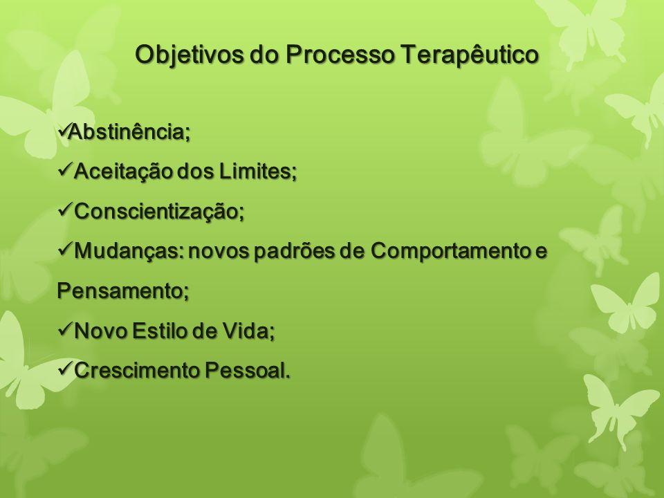 Objetivos do Processo Terapêutico Abstinência; Abstinência; Aceitação dos Limites; Aceitação dos Limites; Conscientização; Conscientização; Mudanças: