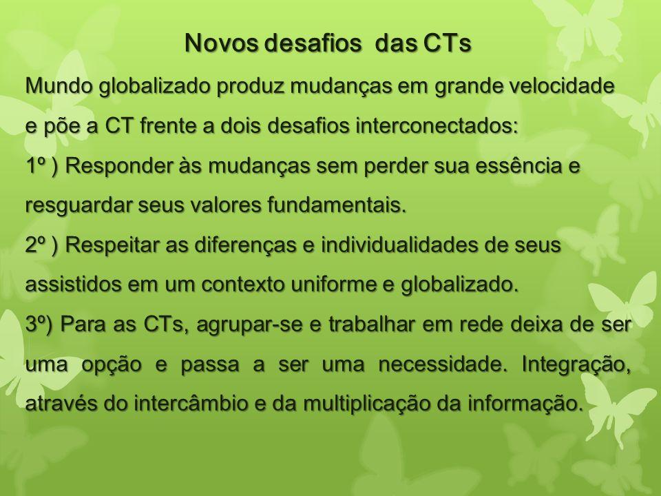 Novos desafios das CTs Mundo globalizado produz mudanças em grande velocidade e põe a CT frente a dois desafios interconectados: 1º ) Responder às mud