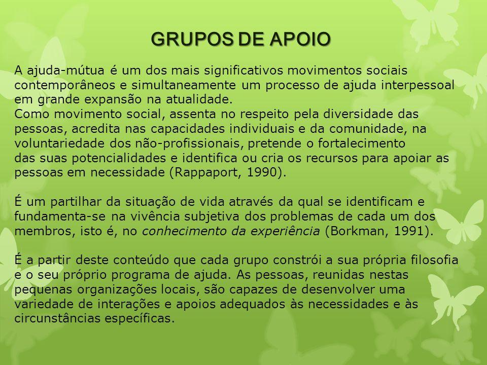 GRUPOS DE APOIO A ajuda-mútua é um dos mais significativos movimentos sociais contemporâneos e simultaneamente um processo de ajuda interpessoal em gr