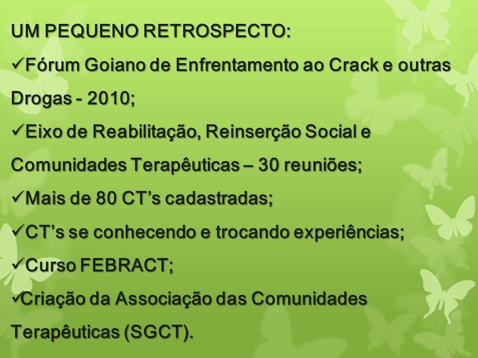 UM PEQUENO RETROSPECTO: Fórum Goiano de Enfrentamento ao Crack e outras Drogas - 2010; Fórum Goiano de Enfrentamento ao Crack e outras Drogas - 2010;