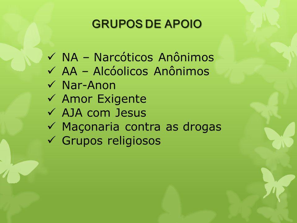 GRUPOS DE APOIO NA – Narcóticos Anônimos AA – Alcóolicos Anônimos Nar-Anon Amor Exigente AJA com Jesus Maçonaria contra as drogas Grupos religiosos