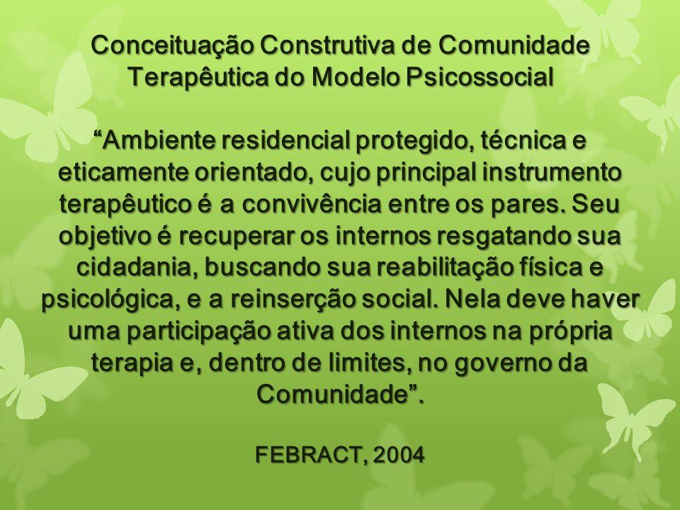 Conceituação Construtiva de Comunidade Terapêutica do Modelo Psicossocial Ambiente residencial protegido, técnica e eticamente orientado, cujo princip