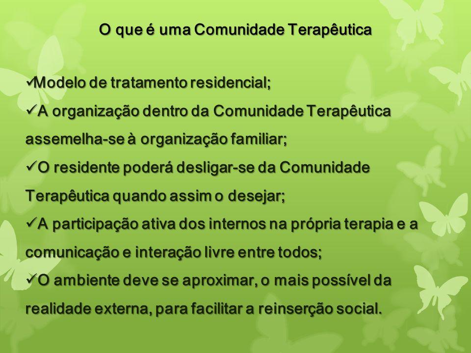O que é uma Comunidade Terapêutica Modelo de tratamento residencial; Modelo de tratamento residencial; A organização dentro da Comunidade Terapêutica