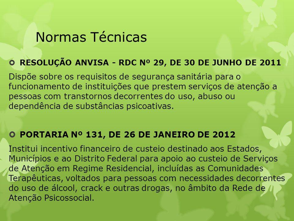 Normas Técnicas RESOLUÇÃO ANVISA - RDC Nº 29, DE 30 DE JUNHO DE 2011 Dispõe sobre os requisitos de segurança sanitária para o funcionamento de institu