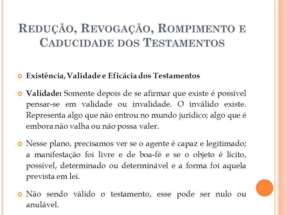 R EDUÇÃO, R EVOGAÇÃO, R OMPIMENTO E C ADUCIDADE DOS T ESTAMENTOS Existência, Validade e Eficácia dos Testamentos Validade: Somente depois de se afirma