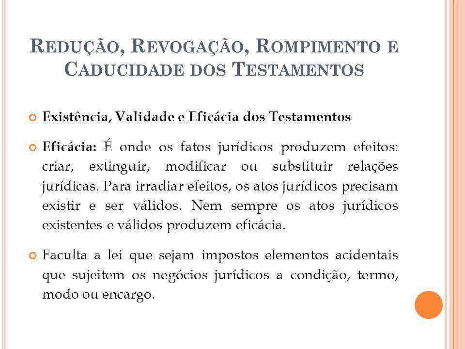 R EDUÇÃO, R EVOGAÇÃO, R OMPIMENTO E C ADUCIDADE DOS T ESTAMENTOS Redução de bem imóvel Se o imóvel for divisível (ex.