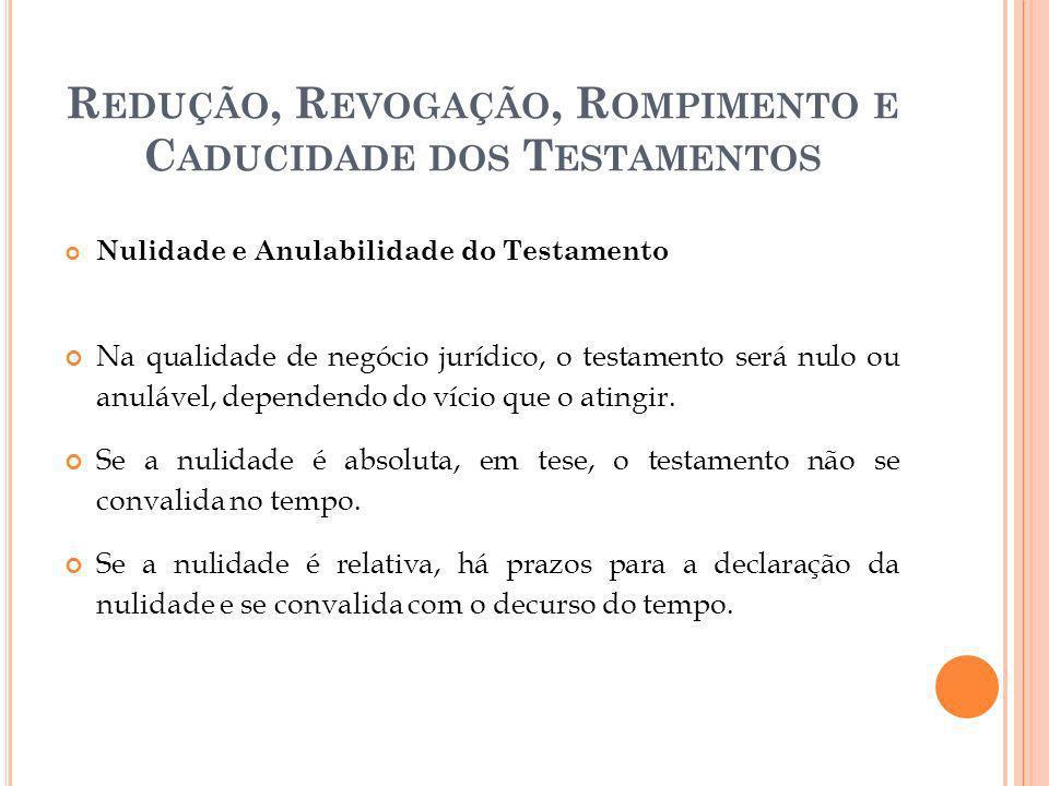 R EDUÇÃO, R EVOGAÇÃO, R OMPIMENTO E C ADUCIDADE DOS T ESTAMENTOS Nulidade e Anulabilidade do Testamento Na qualidade de negócio jurídico, o testamento