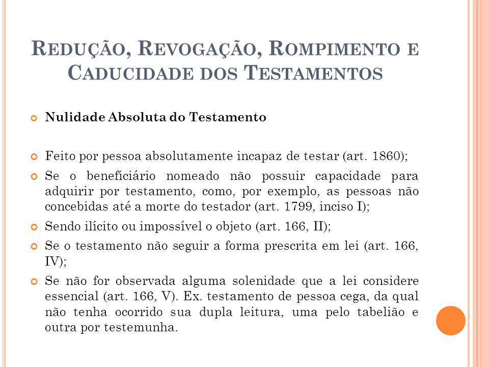 R EDUÇÃO, R EVOGAÇÃO, R OMPIMENTO E C ADUCIDADE DOS T ESTAMENTOS Nulidade Absoluta do Testamento Feito por pessoa absolutamente incapaz de testar (art