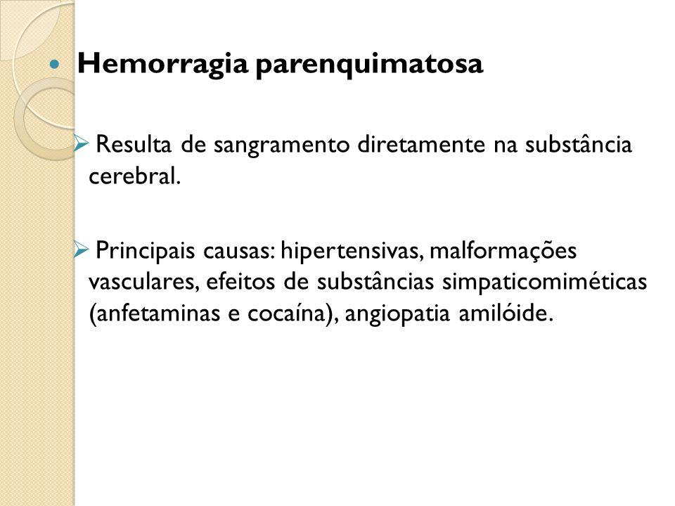 Hemorragia parenquimatosa Resulta de sangramento diretamente na substância cerebral.
