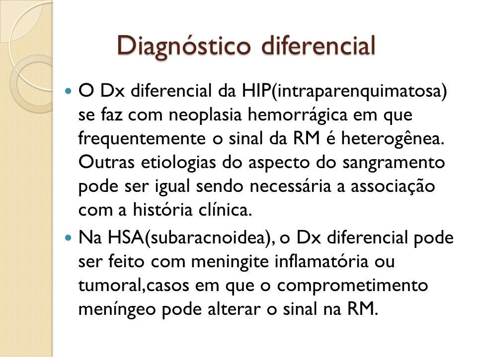 Diagnóstico diferencial O Dx diferencial da HIP(intraparenquimatosa) se faz com neoplasia hemorrágica em que frequentemente o sinal da RM é heterogênea.
