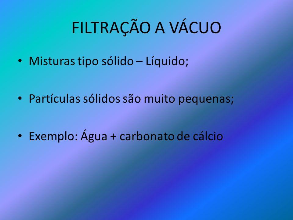 FILTRAÇÃO A VÁCUO Misturas tipo sólido – Líquido; Partículas sólidos são muito pequenas; Exemplo: Água + carbonato de cálcio