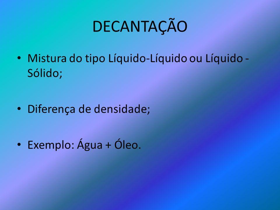 DECANTAÇÃO Mistura do tipo Líquido-Líquido ou Líquido - Sólido; Diferença de densidade; Exemplo: Água + Óleo.