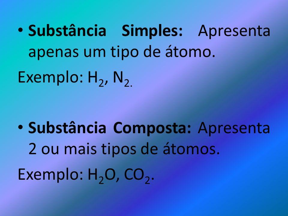 Substância Simples: Apresenta apenas um tipo de átomo. Exemplo: H 2, N 2. Substância Composta: Apresenta 2 ou mais tipos de átomos. Exemplo: H 2 O, CO