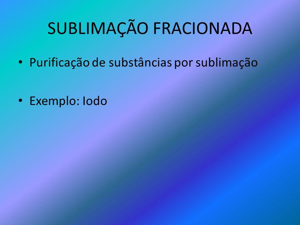 SUBLIMAÇÃO FRACIONADA Purificação de substâncias por sublimação Exemplo: Iodo