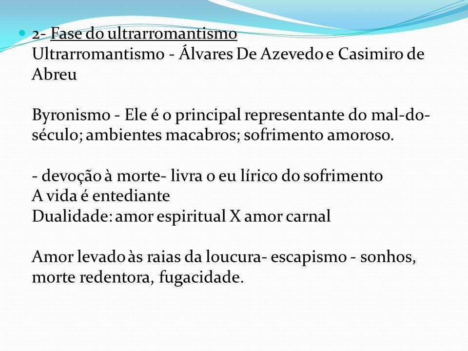 2- Fase do ultrarromantismo Ultrarromantismo - Álvares De Azevedo e Casimiro de Abreu Byronismo - Ele é o principal representante do mal-do- século; a