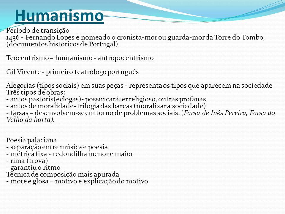 Humanismo Período de transição 1436 - Fernando Lopes é nomeado o cronista-mor ou guarda-mor da Torre do Tombo, (documentos históricos de Portugal) Teo