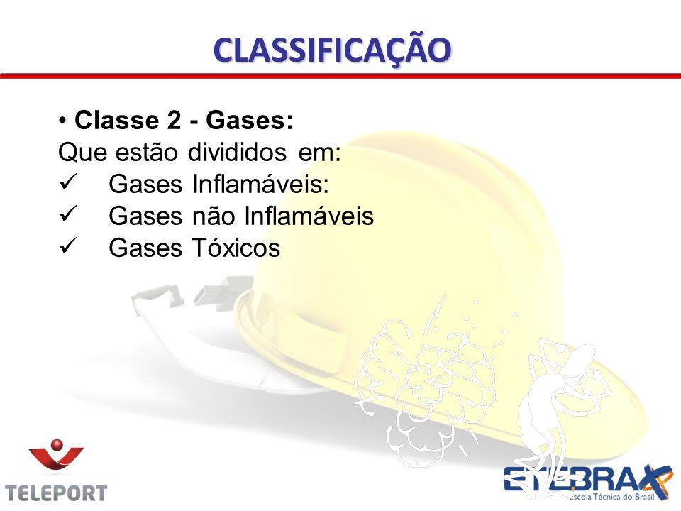 CLASSIFICAÇÃO Classe 2 - Gases: Que estão divididos em: Gases Inflamáveis: Gases não Inflamáveis Gases Tóxicos