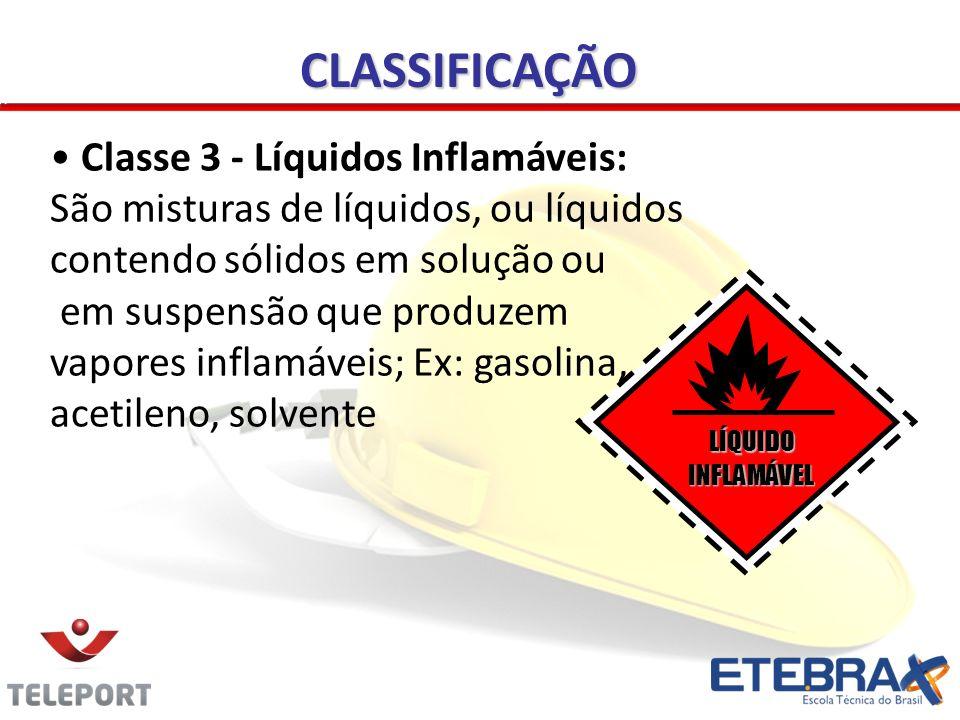 Classe 3 - Líquidos Inflamáveis: São misturas de líquidos, ou líquidos contendo sólidos em solução ou em suspensão que produzem vapores inflamáveis; E