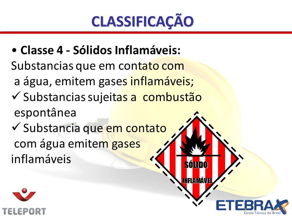 Classe 4 - Sólidos Inflamáveis: Substancias que em contato com a água, emitem gases inflamáveis; Substancias sujeitas a combustão espontânea Substanci
