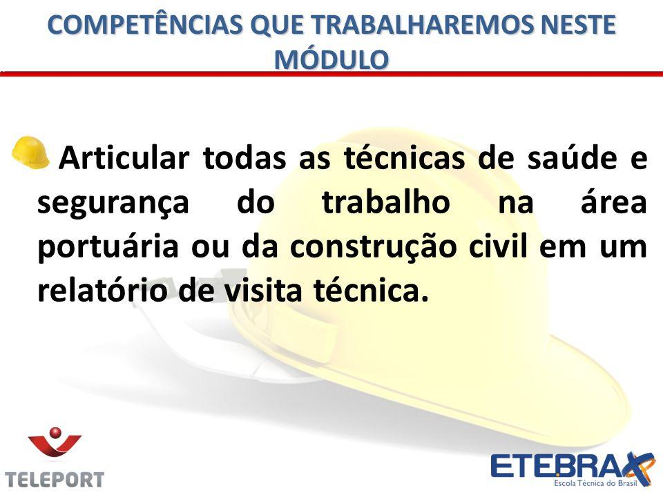 Articular todas as técnicas de saúde e segurança do trabalho na área portuária ou da construção civil em um relatório de visita técnica. COMPETÊNCIAS