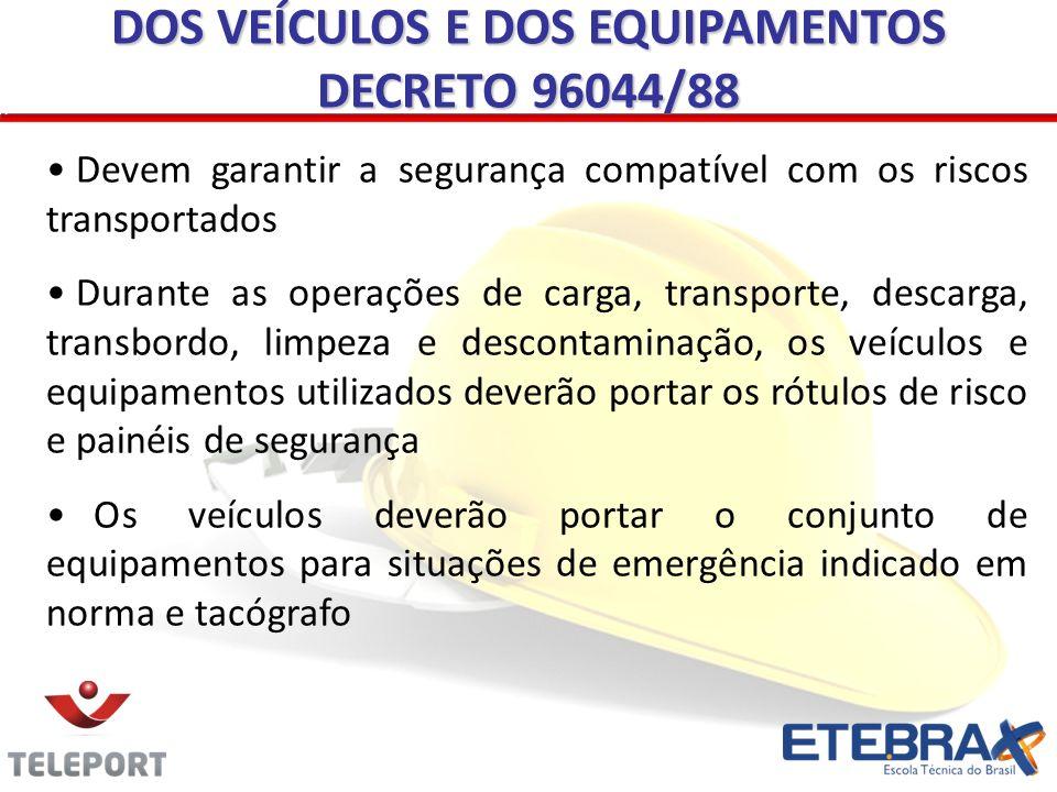 DOS VEÍCULOS E DOS EQUIPAMENTOS DECRETO 96044/88 Devem garantir a segurança compatível com os riscos transportados Durante as operações de carga, tran