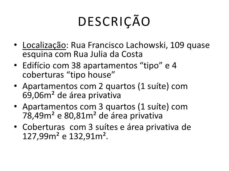 DESCRIÇÃO Localização: Rua Francisco Lachowski, 109 quase esquina com Rua Julia da Costa Edifício com 38 apartamentos tipo e 4 coberturas tipo house A