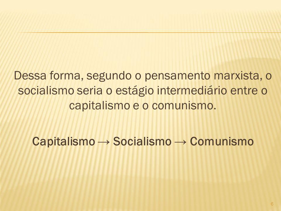 Dessa forma, segundo o pensamento marxista, o socialismo seria o estágio intermediário entre o capitalismo e o comunismo. Capitalismo Socialismo Comun