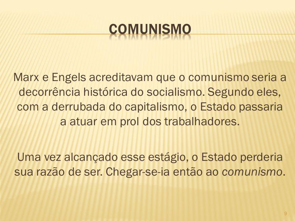 Marx e Engels acreditavam que o comunismo seria a decorrência histórica do socialismo. Segundo eles, com a derrubada do capitalismo, o Estado passaria