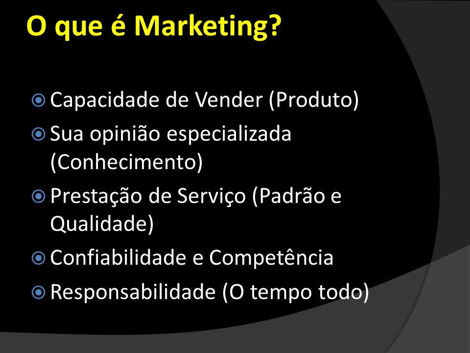 O que é Marketing? Capacidade de Vender (Produto) Sua opinião especializada (Conhecimento) Prestação de Serviço (Padrão e Qualidade) Confiabilidade e