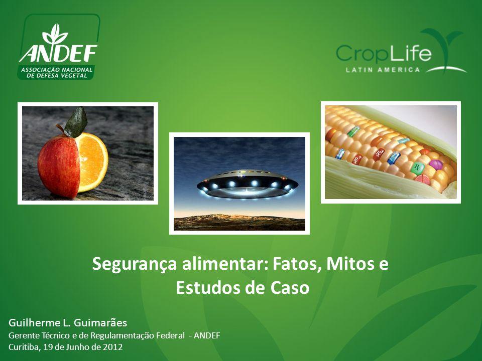 Segurança alimentar: Fatos, Mitos e Estudos de Caso Guilherme L. Guimarães Gerente Técnico e de Regulamentação Federal - ANDEF Curitiba, 19 de Junho d