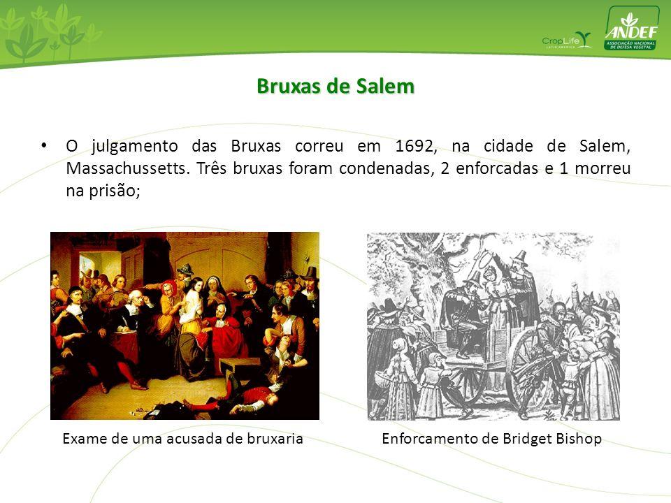 O julgamento das Bruxas correu em 1692, na cidade de Salem, Massachussetts. Três bruxas foram condenadas, 2 enforcadas e 1 morreu na prisão; Exame de