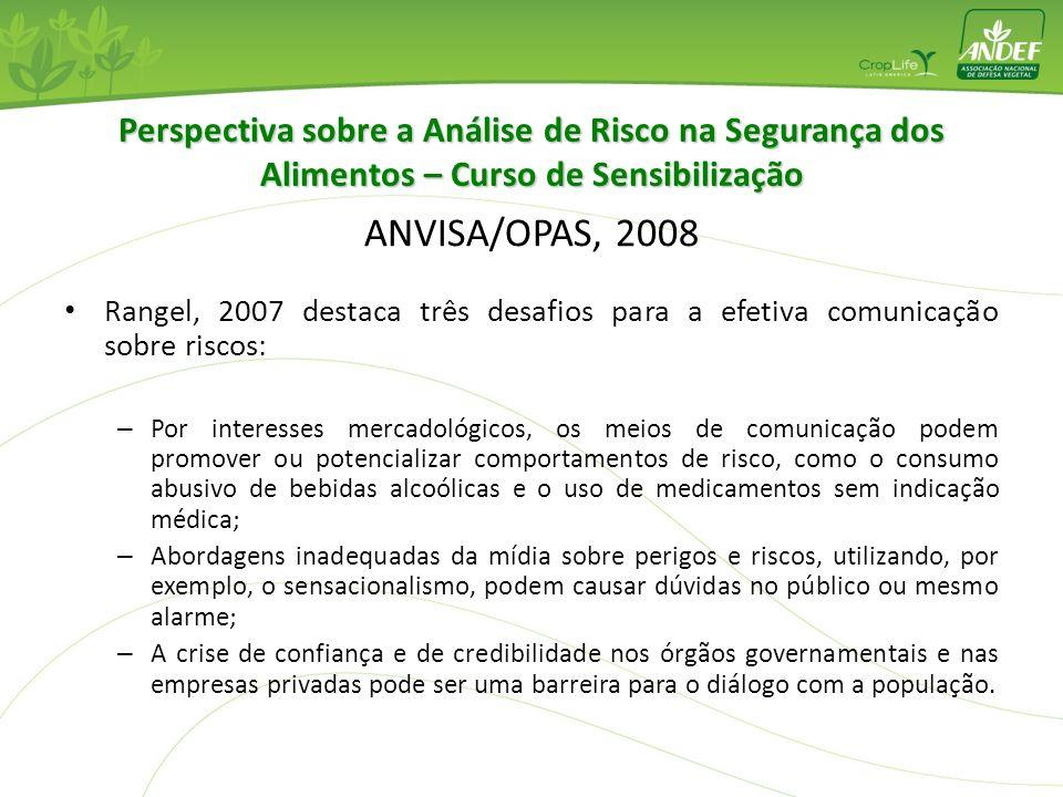 Perspectiva sobre a Análise de Risco na Segurança dos Alimentos – Curso de Sensibilização ANVISA/OPAS, 2008 Rangel, 2007 destaca três desafios para a