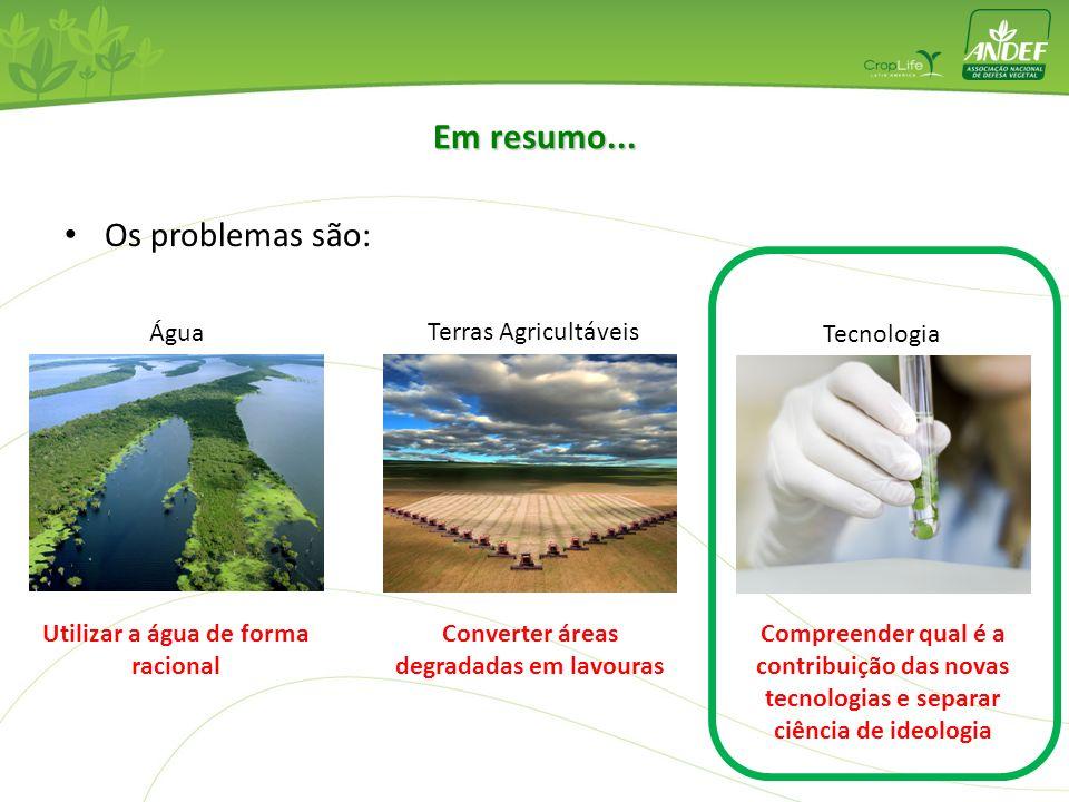 Os problemas são: Em resumo... Água Terras Agricultáveis Tecnologia Utilizar a água de forma racional Converter áreas degradadas em lavouras Compreend