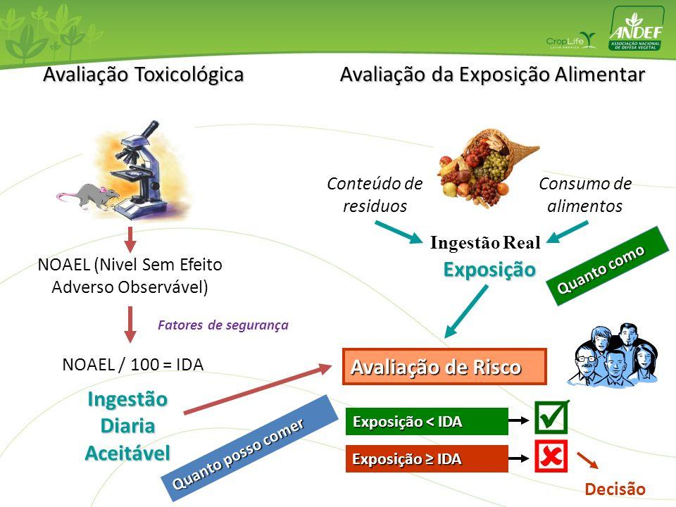 Avaliação Toxicológica NOAEL (Nivel Sem Efeito Adverso Observável) Fatores de segurança NOAEL / 100 = IDA Ingestão Diaria Aceitável Avaliação da Expos