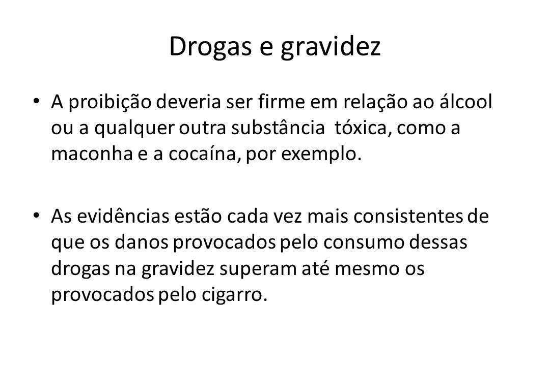Drogas e gravidez A proibição deveria ser firme em relação ao álcool ou a qualquer outra substância tóxica, como a maconha e a cocaína, por exemplo. A