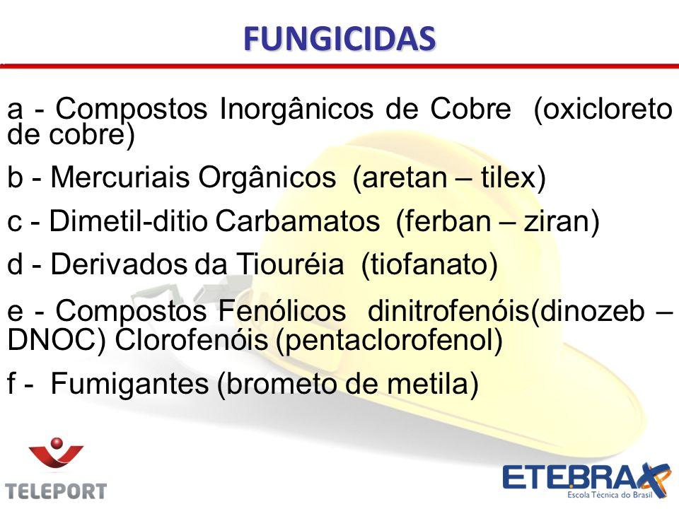 a - Compostos Inorgânicos de Cobre (oxicloreto de cobre) b - Mercuriais Orgânicos (aretan – tilex) c - Dimetil-ditio Carbamatos (ferban – ziran) d - D