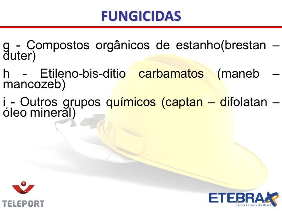g - Compostos orgânicos de estanho(brestan – duter) h - Etileno-bis-ditio carbamatos (maneb – mancozeb) i - Outros grupos químicos (captan – difolatan