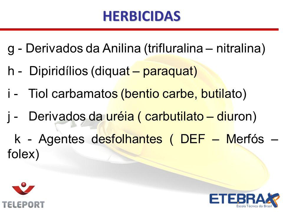 g - Derivados da Anilina (trifluralina – nitralina) h - Dipiridílios (diquat – paraquat) i - Tiol carbamatos (bentio carbe, butilato) j - Derivados da