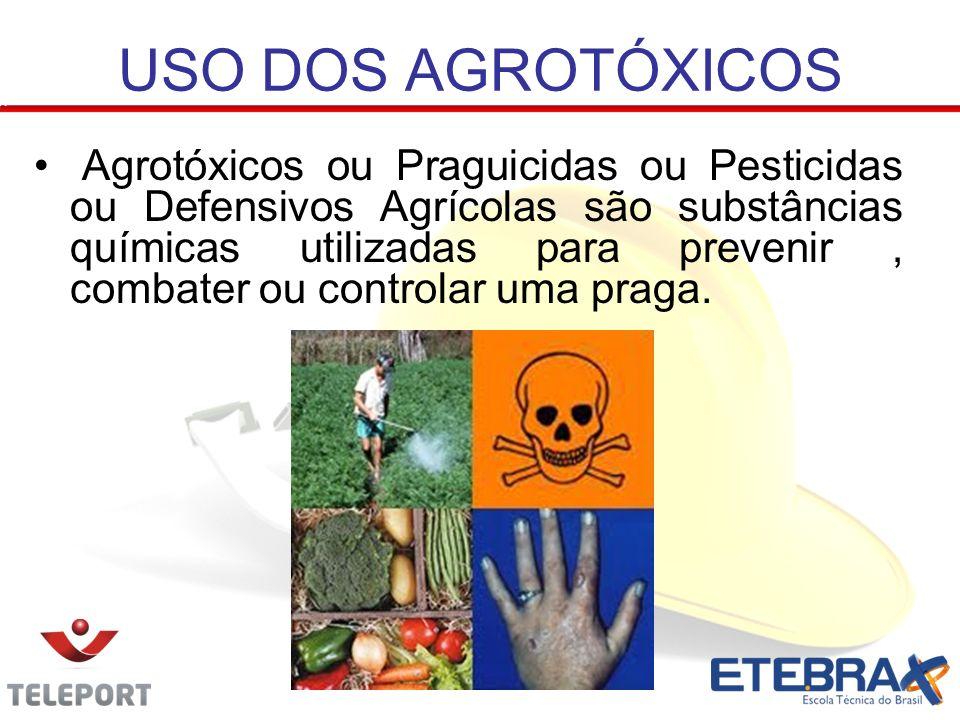 USO DOS AGROTÓXICOS Agrotóxicos ou Praguicidas ou Pesticidas ou Defensivos Agrícolas são substâncias químicas utilizadas para prevenir, combater ou co